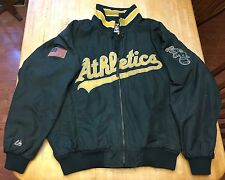 RARE Mens Majestic Oakland Athletics Jacket WITH American Flag Patch XL