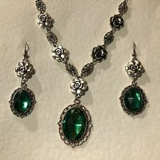 CAMELLIA FILIGREE VICTORIAN STYLE new EMERALD GREEN SILVER PL NECKLACE SET CFS