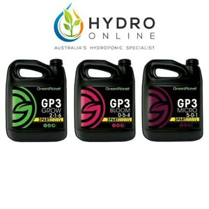 GREEN PLANET GP3 SET | GROW BLOOM MICRO | 3 x 1L | HYDROPONIC NUTRIENTS