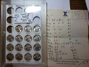 Set of Mercury Dimes 1941 - 1945 Gems - 15 Coins All BU