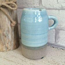 Small Ceramic Vase Flower Holder Duck Egg Blue Glaze & Grey Concrete Effect Jug