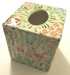 Monet Ponta Portugal 1573 Hand Painted Floral Green Ceramic Tissue Box Cover