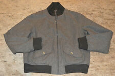 APC en laine gris avec fermeture à glissière à revers Bomber Veste manteau homme large L