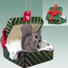 SQUIRREL Green Gift Box Holiday Christmas ORNAMENT