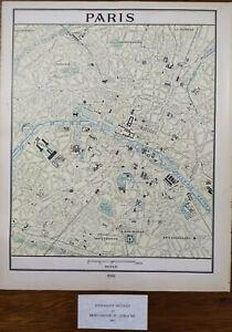 """Vintage 1902 PARIS FRANCE Map 11""""x14"""" ~ Old Antique Original EIFFEL TOWER LOUVRE"""