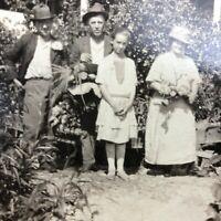 VTG Antique RPPC Postcard Farm Family Garden Post Card Corn Flowers c.1915-1930