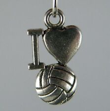 140pcs Tibetan Silver I Love Volleyball Charms Pendants 16.5x9x3mm ZN62150