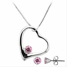 925 Silver Pink CZ Open Heart Pendant and Stud Earrings Set