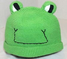 Mud Pie Baby Green Crochet Boy / Girl  Smiley Frog Hat Size 0-12 Months New