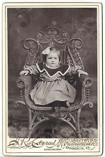 Antique Cabinet Photo Little Girl in Dress on Chair SHAMOKIN PA SD-5