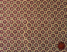 TAN & KHAKI GREEN FLOWERS ON LIGHT BROWN - 100% COTTON FABRIC FQ'S