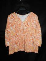 D & Co Denim & Company 1X Orange White Paisley T Shirt 3/4 Sleeve V Neck Cotton