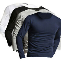 Men's Slim Fit Long Sleeve T-shirts Casual Tee Shirt Tops Pullover Solid Color