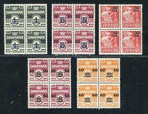 DENMARK FAROES BRITISH ADMINISTRATION 1940-1941 SCOTT 2-6 SUPERB MNH BLOCKS OF 4