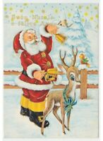 Santa Claus Bells Deer Fawn Card Vintage Christmas Country Snowy Best Wishes