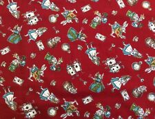 Lecien - Alice In Wonderland Fabric Red - 100% Cotton By 1/4 Metre
