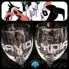 Handmade Personalised Batman Wedding Glasses Gift Bride & Groom Harlequin Joker