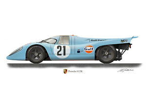 Porsche 917K classic sports car Profile Artwork A4 / A5 Print signed