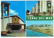 Postal de Torre del Mar, Málaga. Diversos aspectos. Escudo de Oro. Escrita y cir