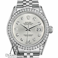 Ladies Rolex Datejust 36mm Stainless Steel Silver Color Diamond Dial Watch