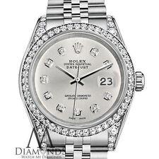 Mujer Rolex Datejust 26mm acero inoxidable color plateado diamante esfera reloj