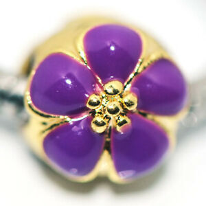 1x Purple Flower Bead Charms Spacer Fit Eupropean Chain Bracelet Making Jewelry
