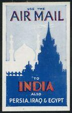 1935c kgv airmail propagande label-inde, perse, l'irak et l'égypte