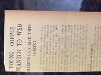 M3-8a ephemera 1941 dagenham article ww2 hammersley emily bourne apply to wed