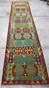 Afghan Kundoz Genuine Handmade Tribal Multi Colour Wool Kilim Rug 84x387cm