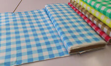 """1"""" CHECK BLUE/WHITE GINGHAM 100% COTTON FABRIC : SELLING BY THE 1/2 METRE"""