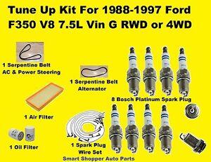 1988-1997 Ford F350 V8 7.5L Tune Up Kit Spark Plug Wire Set Oil Air Filter, Belt