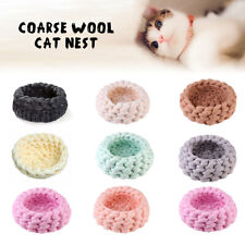Chunky Knitted Pet Cat Nest Handmade Soft Wool Sleeping Bed Kitten Cave Cozy