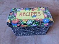NEW Mary Engelbreit Black Recipe Box w/ 8 Tabbed Dividers