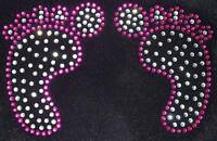 BABY FEET pink iron-on DIAMANTE CRYSTAL TRANSFER PATCH