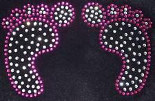 BABY FEET ROSA iron-on Diamante Crystal trasferimento patch