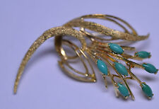 VINTAGE 18K TEXTURED YELLOW GOLD HIGH QUALITY GREEN TURQUOISE CASCADE PIN ITALY