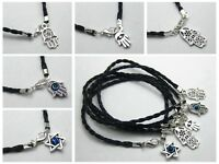 10 Kabbalah Evil Eye Hamsa Hand Charms Black Leather Braided Good Luck Bracelet