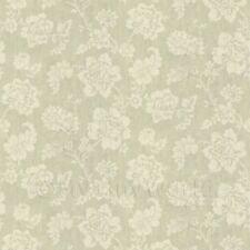 casa delle bambole Crema motivo floreale su verde chiaro tessuto stile STAMPA