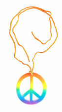 RAINBOW HIPPIE NECKLACE PEACE SIGN 60s 70s FANCY DRESS ACCESSORIES