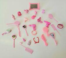 Barbie PINK BATHROOM Jewelry Hairdryer Accessories Clothes Mirror Clock Cream