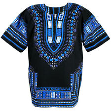 Cotton African Dashiki Mexican Poncho Hippie Boho Shirt Blouse Black ad14s