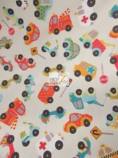 CARS RILEY BLAKE 100% COTTON DUCK FABRIC - Tan - BY THE YARD HOME DEC DRAPERY