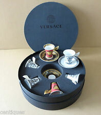 Rosenthal Versace (6) Medusa RED & Marqueterie WHITE Cup Saucer SET w/ Case