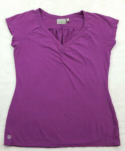 Athleta Women's Size XS V-Neck Activewear Top, Short Sleeve, Solid Purple
