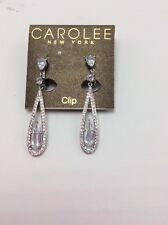 Carolee Earrings, Silver-Tone  Glass Bead Linear Drop Earrings Clip On #421