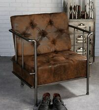 Armchair Factory Brown Faux Leather Club Chair Lounge Casablanca