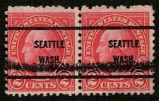US 1927 #599 - 2c Carmine Washington Seattle Wash Precancel Pair (2) Used