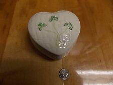 BELLEEK IRELAND HEART IVORY TRINKET BOX JEWELRY KILMORE BASKETWEAVE SHAMROCKS