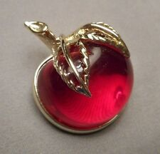Vintage Signed Sarah Coventry Leafy Cherry Brooch - Jelly Belly Jello Mold Style