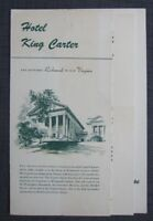 1952 Hotel King Carter The Coffee Shoppe Restaurant Menu, Virginia